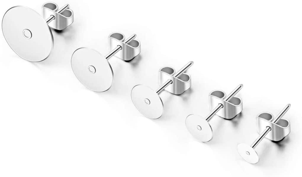 200pcs Hypoallergenic Earring Posts Silver Plated Brass Stud Earrings 8mm Flat Board Glue On Earring Post Setting with earnuts CF221-8