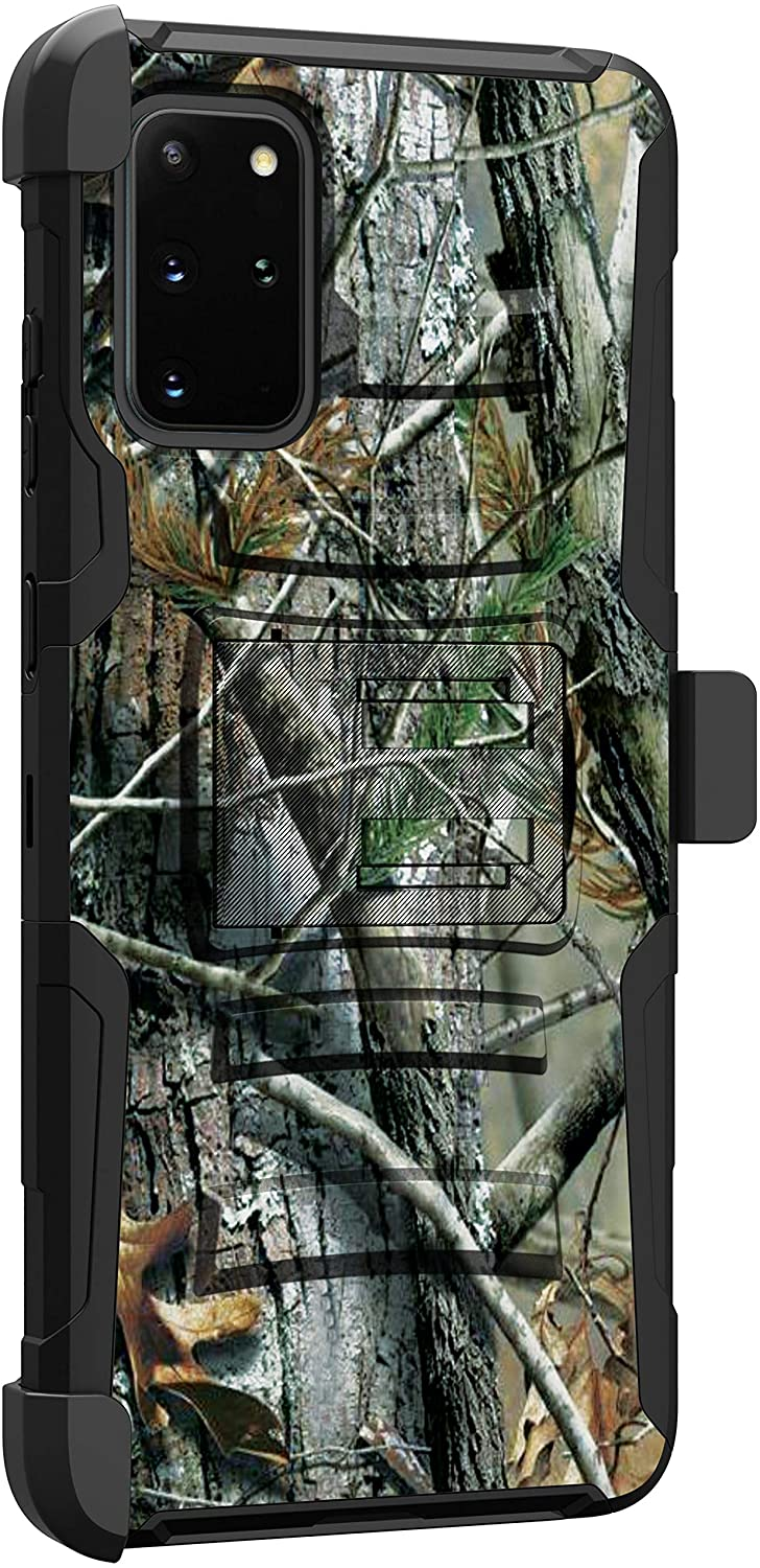 MINITURTLE Compatible with Samsung Galaxy S20 Plus (6.7) Hard Shell Cover Hybrid Case Kickstand with Holster Clip [Clip Armor] - Tree Camo