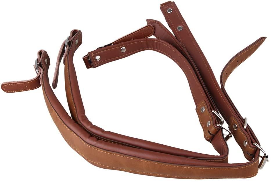 Yibuy Adjustable Accordion Shoulder Strap Set Artificial Leather Brown Set of 2