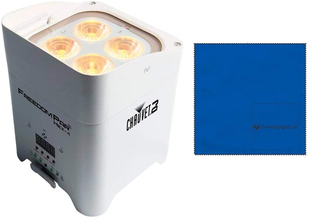 CHAUVET DJ Freedom Par Hex-4 Battery-Powered/Wireless RGBAW+UV LED Par Wash Light WhiteandMicrofiber