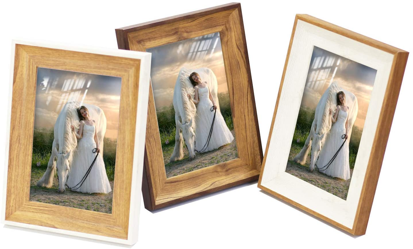 5x7 Rustic Picture Frame(Brown 3 Pack) Desktop Table and Wall Mounting Photo Frame