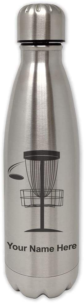 LaserGram Single Wall Stainless Steel Water Bottle, Disc Golf, Personalized Engraving Included