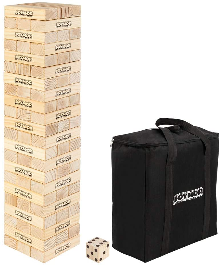 JOYMOR 66PCS Giant Tumble Tower, 2.74ft Tall Pine Wooden Toppling Timber Game with 1 Dice Set - Classic Block Wood Stacking Game for Adults Family (Natural Wood)