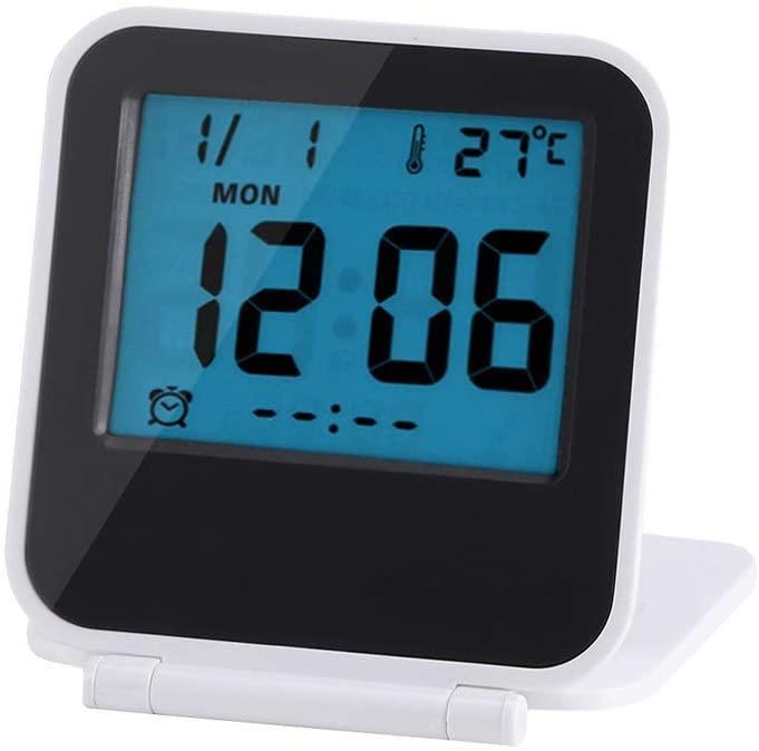 ROBTLE Small Digital Travel Alarm Clocks, Portable Foldable Tabletop Travel Digital Alarm Clock with Temperature Calendar Date Week, 2.52 x 2.76 x 0.75inch(White)