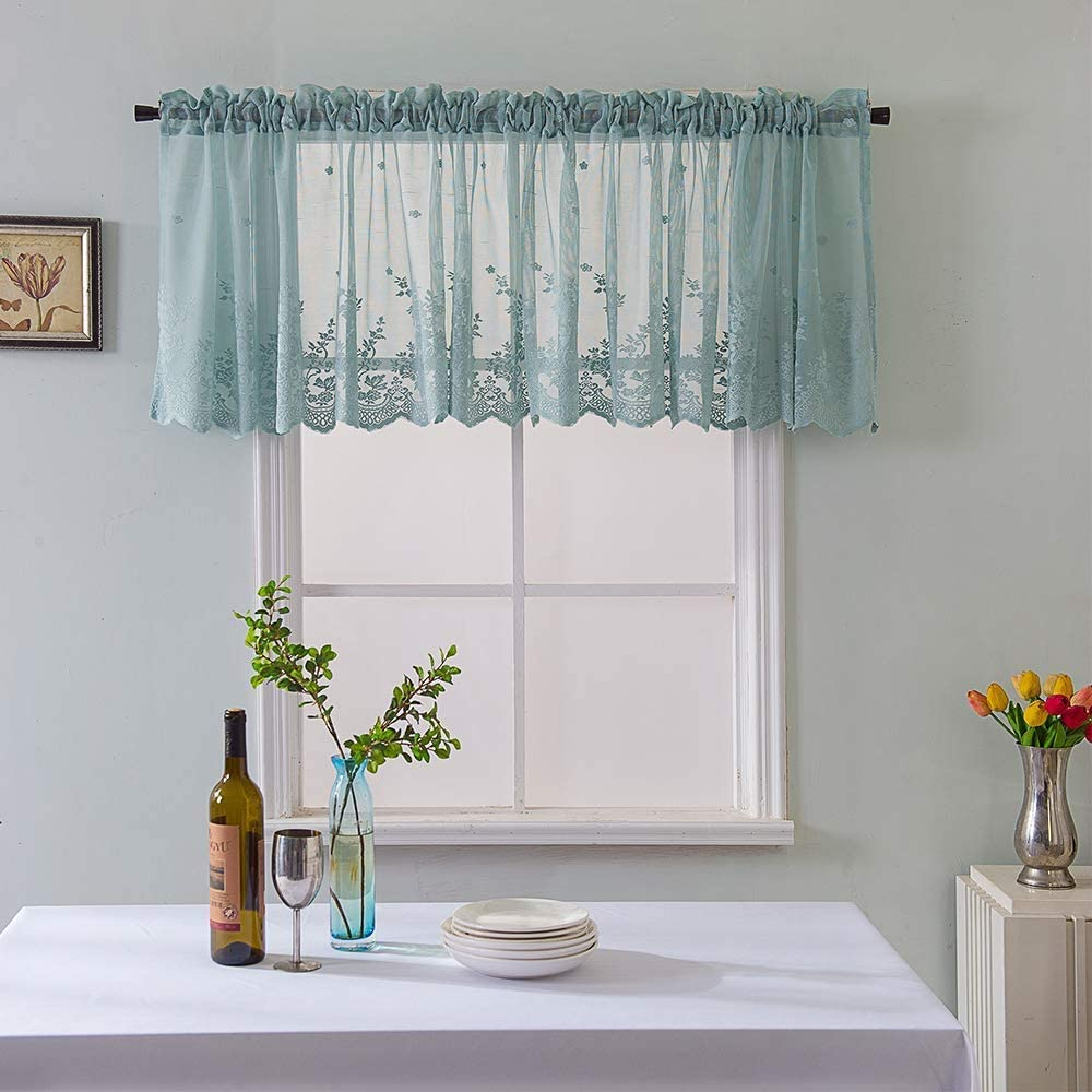 Lace Kitchen Curtain Semi Sheer Embroidery Lace Valance Elegant Flowers Leaves Cafe Curtains Beautiful Romantic Wedding Window Decor 54-inch by 24-inch, Blue
