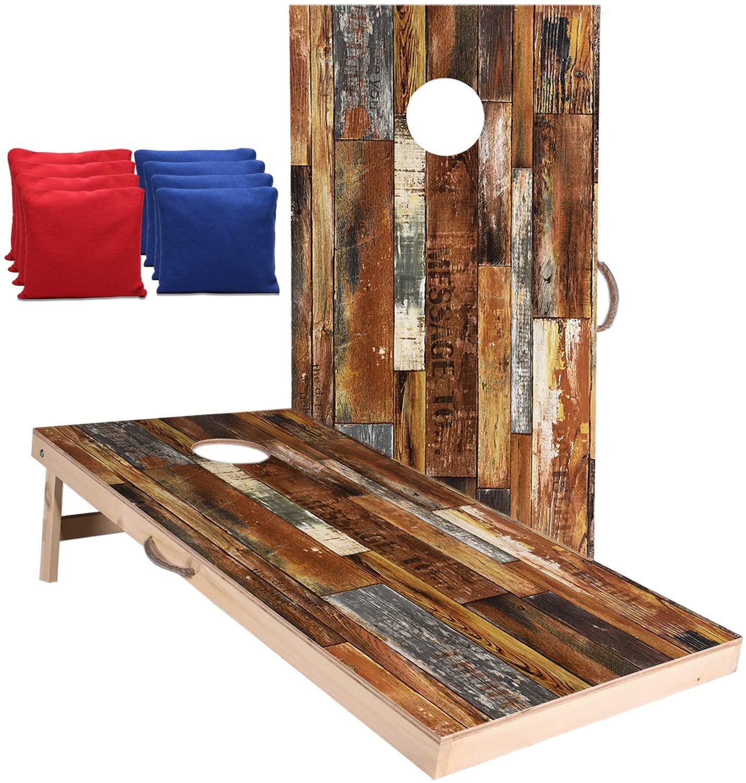 Welldo Sports 4x2 Feet Regulation Wood Cornhole Boards, Both Sides Printed Vintage Wood Grain Cornhole Set with 8 Cornhole Bean Bags for Indoor Outdoor Cornhole Toss Games