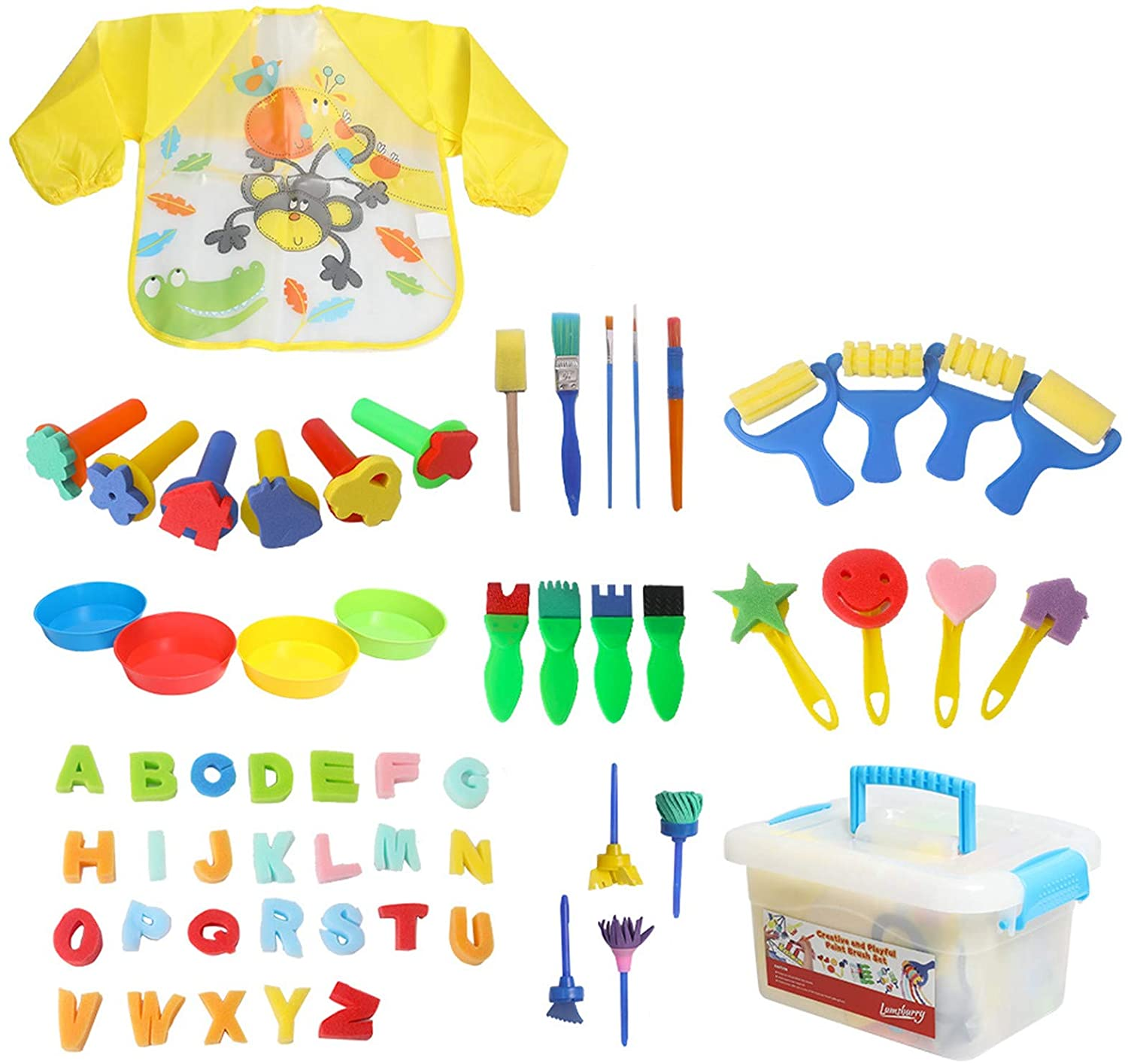 Lumsburry 59pcs Kids Art & Craft Early Learning Painting Sponges Stamper Mini Paint Brushes Kit with 26 English Alphabets Drawing Tools (with Apron&Box)