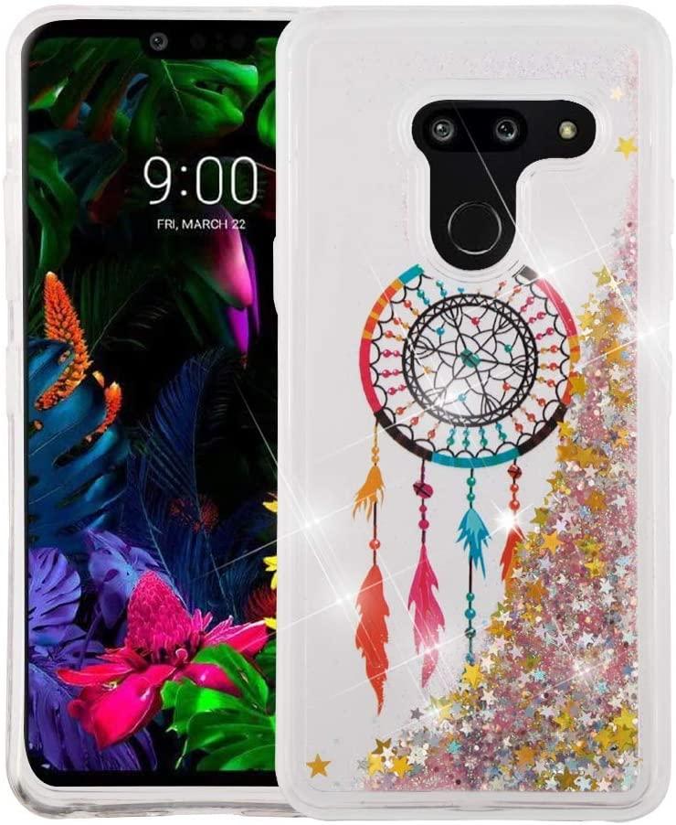 Kaleidio Case Compatible for LG G8 ThinQ [Quicksand Glitter] TPU Gel Slim Hybrid Skin Cover [Liquid Dreamcatcher & Stars]