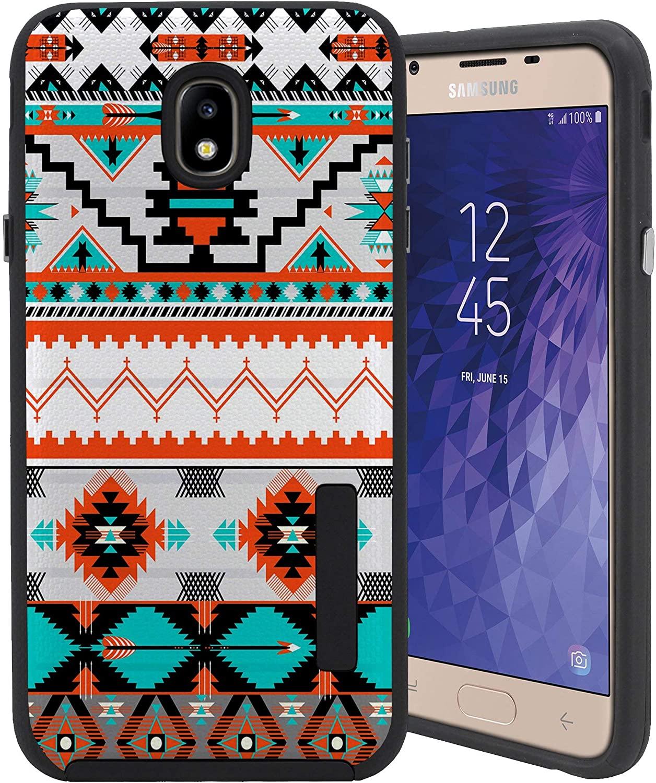 CasesOnDeck Case for Samsung Galaxy J7 2018/ J7 Crown/ J7 Refine/ J7 Top/ J7 Star/ J7 Aero - Combat Bump and Drop Dual Layer Slim Defender Cover (Western Pattern)