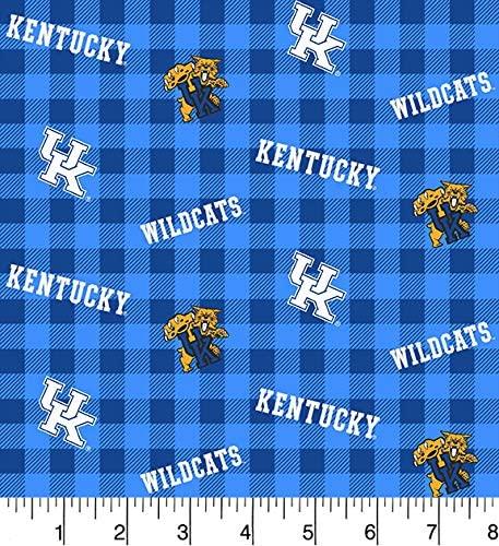 University of Kentucky Cotton Fabric Buffalo Plaid Design-Newest Pattern-Sold by The Yard-SYKEL