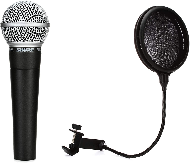 Gator GM-POP FILTER - Pop Filter + Shure SM58 Cardioid Dynamic Vocal Microphone Value Bundle