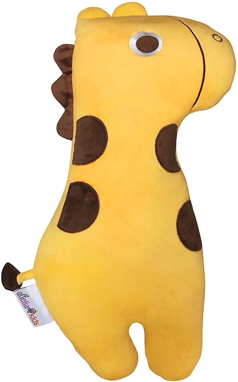 Attelia Kids Car Seat Belt Pillow for Kids, Neck Support Pillow Adjustable Seat Strap Shoulder Pads Road Trip Pillow Seatbelt Buddy (Yellow Giraffe R)