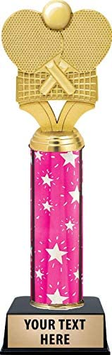 Crown Awards Table Tennis Paddles with Net Trophy On Black Base, Personalized Pink Ping Pong Trophy, Engraving Included Prime