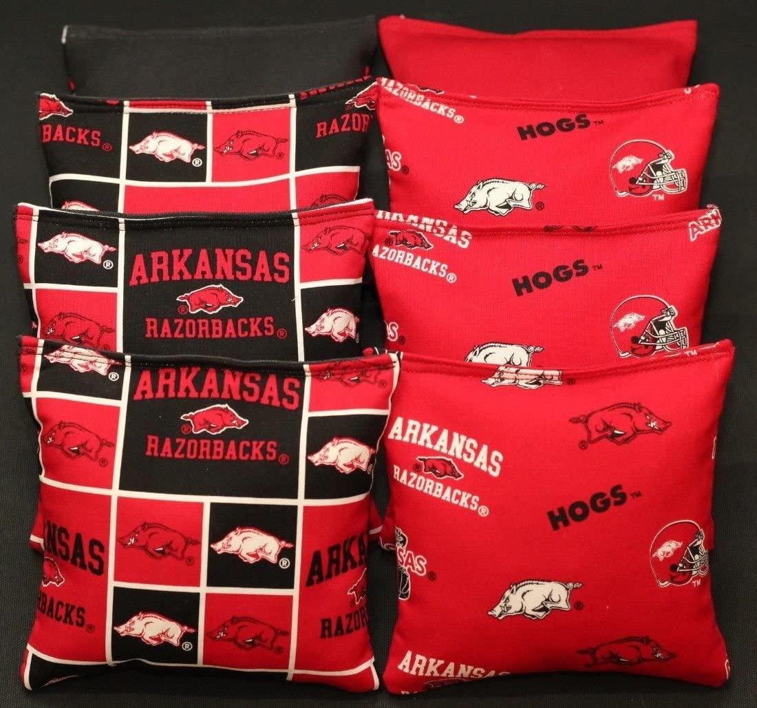 BackYardGamesUSA 8 Cornhole BEANBAGS Made w University of Arkansas Razorbacks Fabric ACA Reg Bags