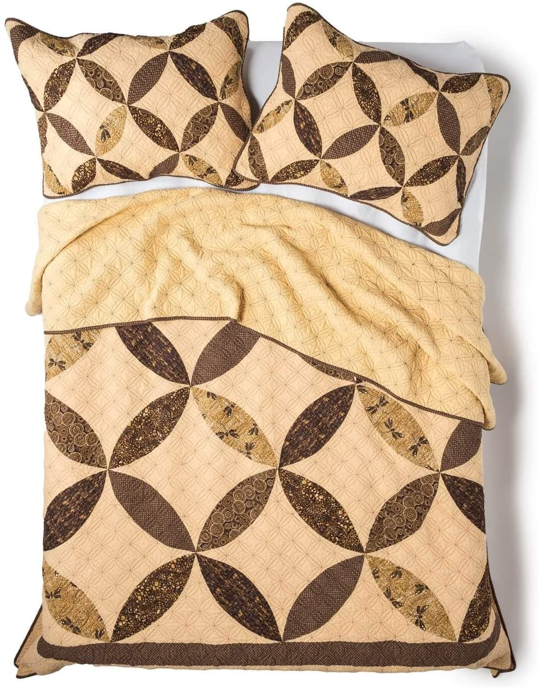 Donna Sharp Full/Queen Quilt - Dragonfly Cathedral Window Lodge Quilt with Classic Ring Design - Fits Queen Size and Full Size Beds - Machine Washable