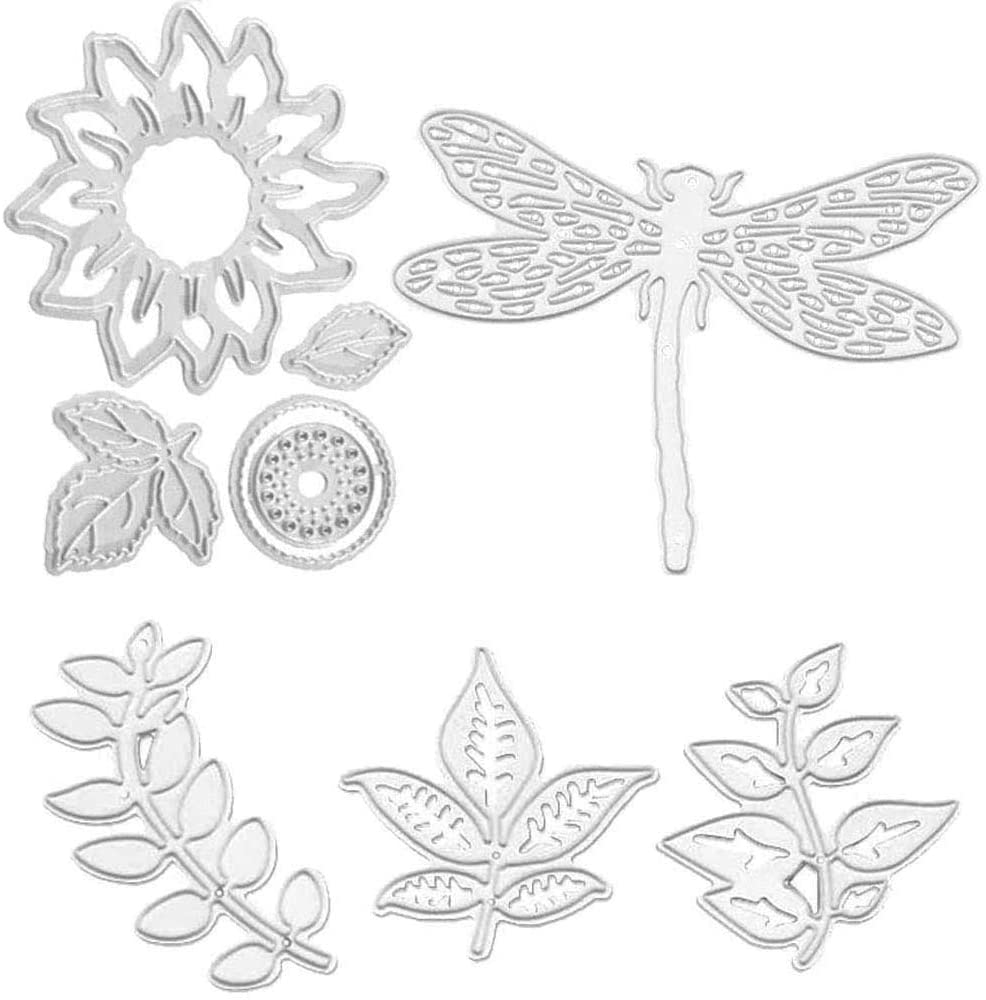 Sunflower and Dragonfly Metal Cutting Dies Stencil Template Moulds, Embossing Tool for Album Paper Card Making Scrapbooking DIY Etched Dies Craft (Sunflower)