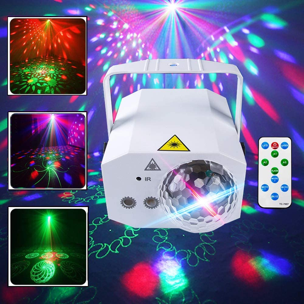 Stage Light, LED Mini 16-in-1 Pattern Self-propelled Voice-Controlled Stroboscopic Laser Stage Double-Headed Magic Ball Atmosphere Light for KTV Bar