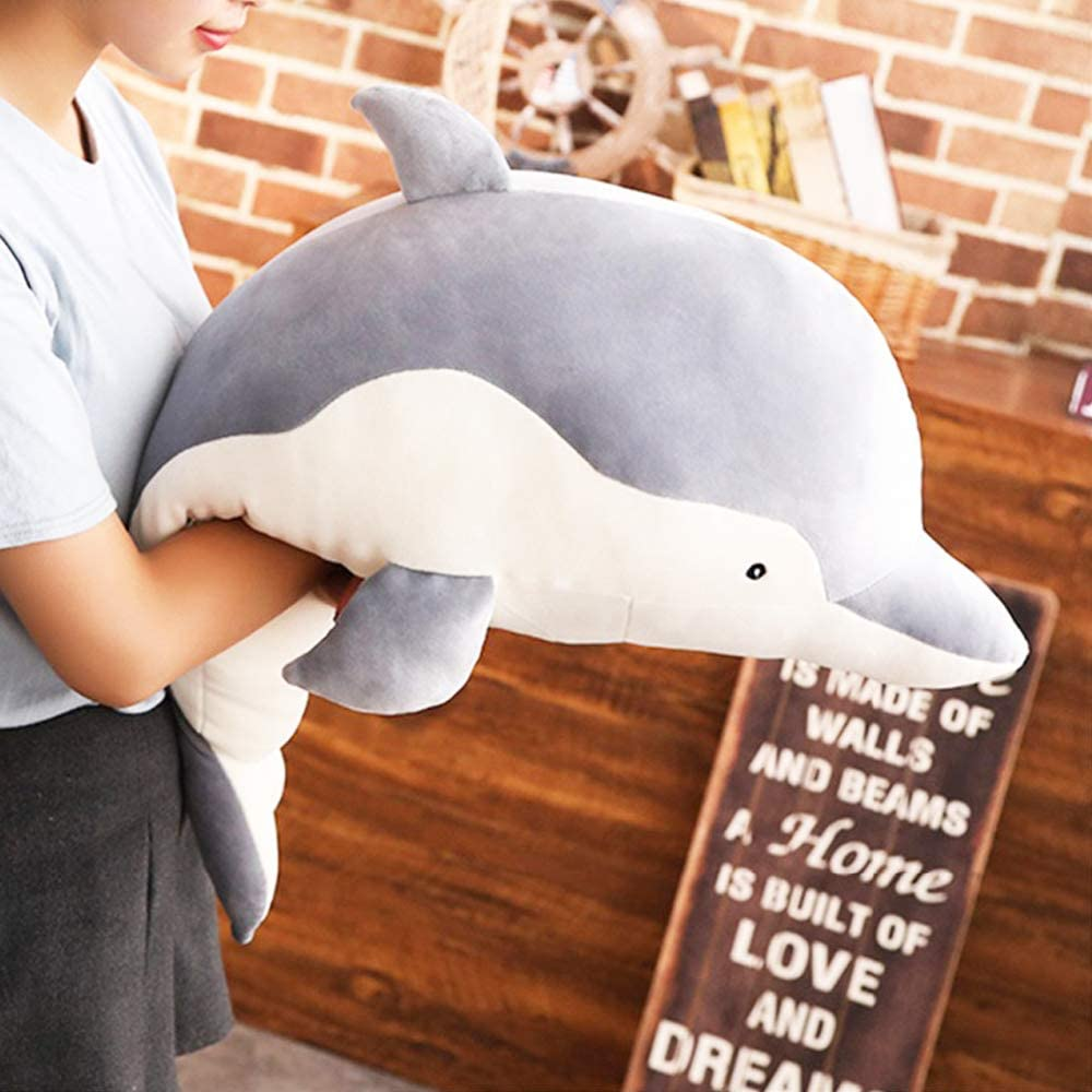 Dolphin Plush Hugging Pillow, Soft Large Dolphins Stuffed Animal Toy Doll Gifts for Kids, Valentine, Christmas, Bedding (23.6