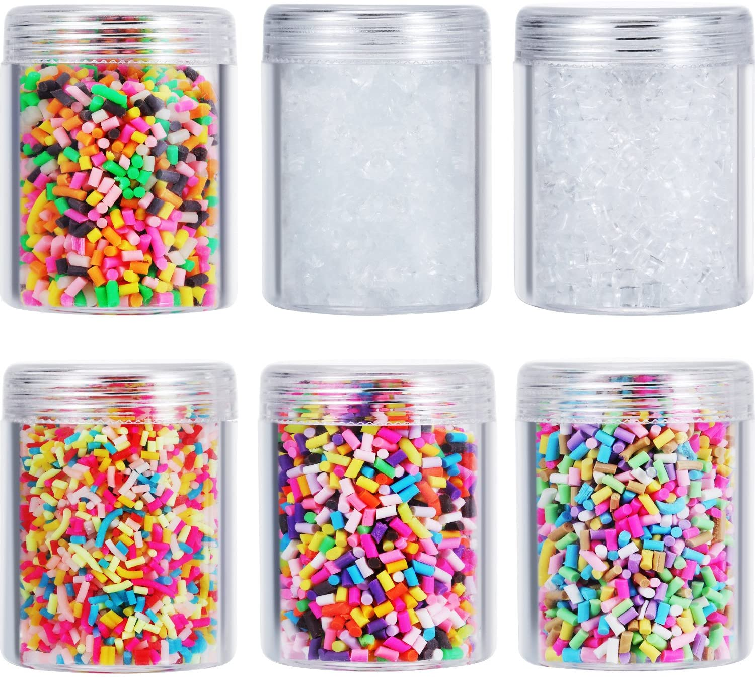 Zhanmai 6 Bottles of Colorful Fake Candy Sweets Sugar Chocolate Ice Sprinkles Decorations for Fake Cake Dessert Simulation Food Slime Kit DIY Crafts with Storage Bottles (Multicolor and White)
