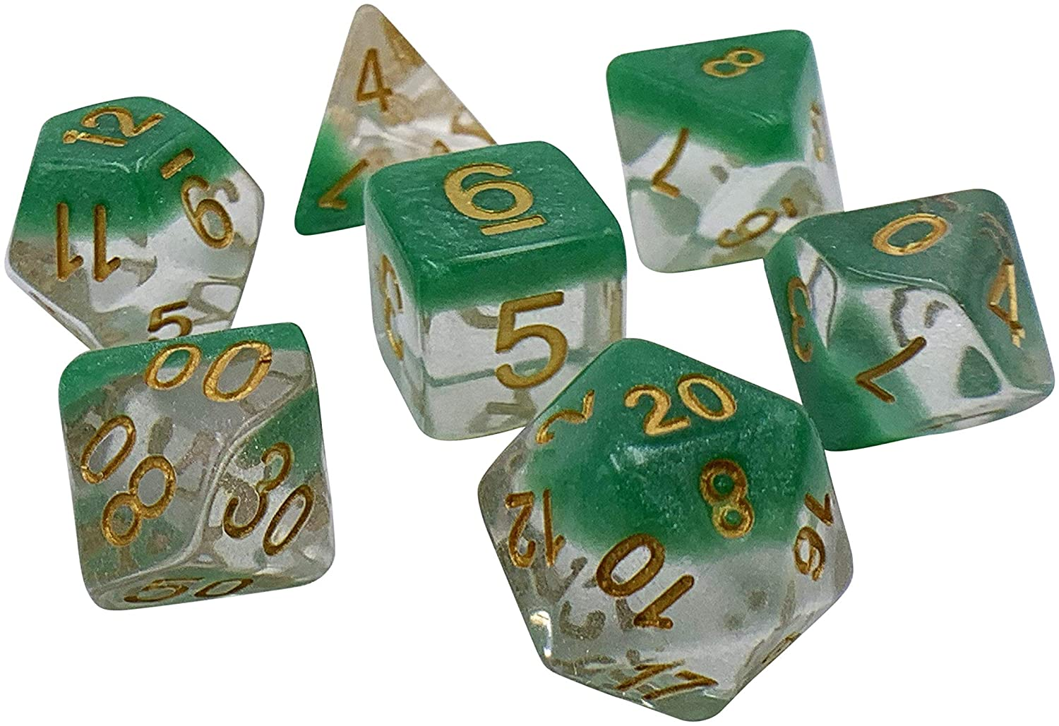 7 Piece Polyhedral DND Dice Set by D20 Collective Dice for Table Top Dungeons and Dragons RPGs and Gaming