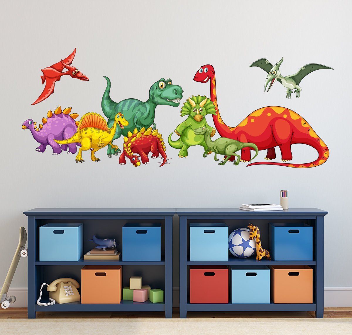 Dinosaurs Wall Decal - Kids Boys Bedroom Wall Art - Cute Dinosaurs Nursery Wall Decal - Dinosaur Themed Vinyl Wall Sticker (56