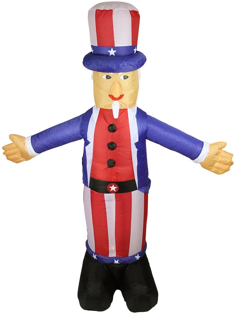 Northlight Inflatable White and Red Lighted Standing Uncle Sam Outdoor Decor, 70-Inch