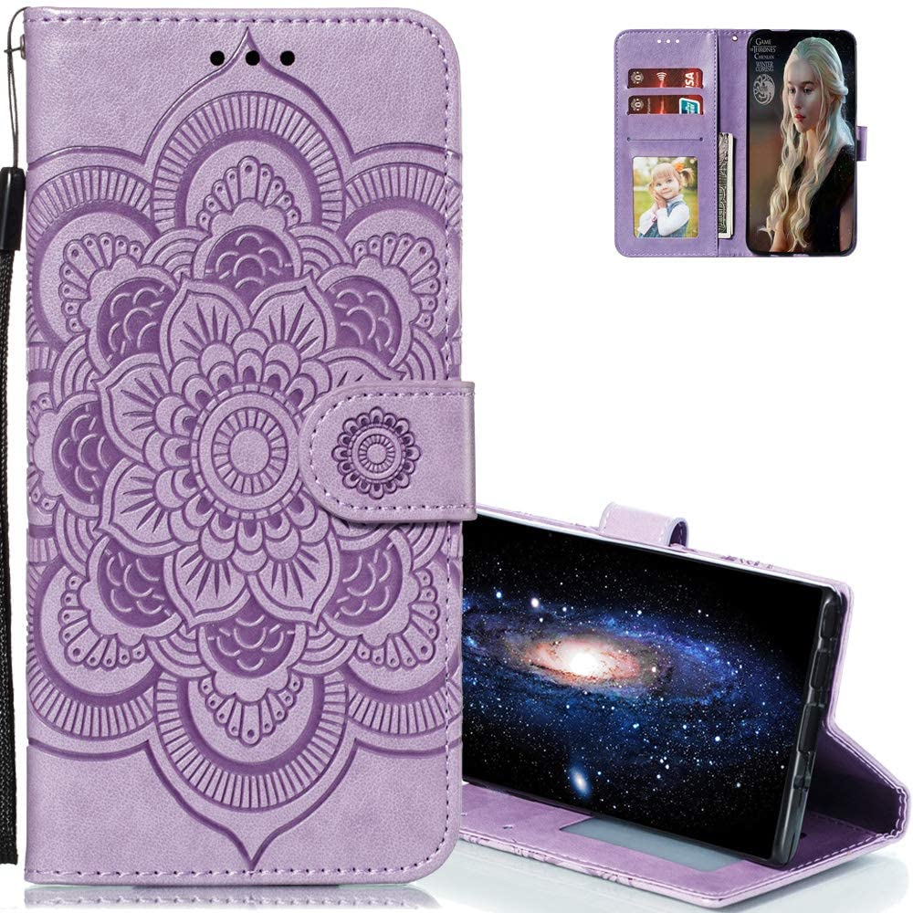 EMAXELERR Galaxy A10S Case Stylish Premium PU Leather Wallet Cover Magnetic Shockproof Flip Case with Kickstand Credit Cards Slot for Samsung Galaxy A10S Sunflower Purple LD