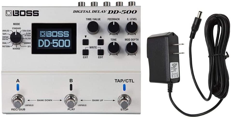 BOSS Compact Guitar Pedal (DD-500) with PigHog PP9V Pig Power 9V DC 1000ma Power Supply