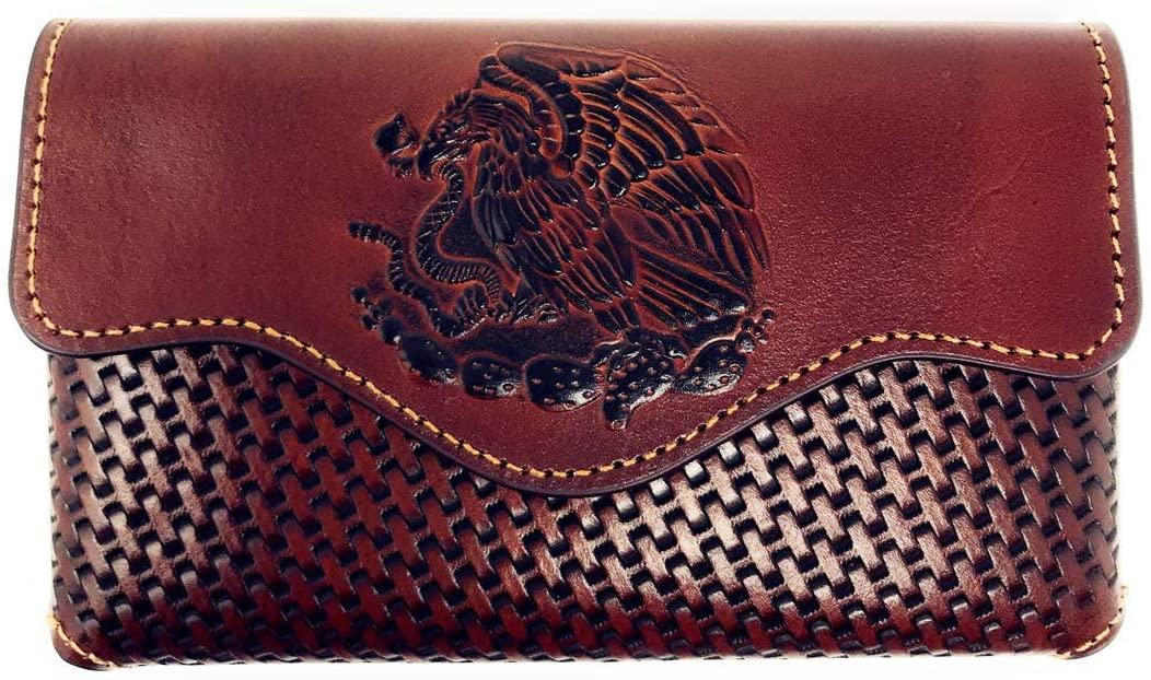 Texas West Western Cowboy Horizontal Basketweave Leather Eagle Cellphone Belt Holster Case