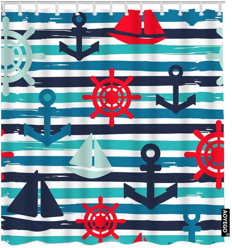 AOYEGO Nautical Fabric Shower Curtain with Hooks Sailboat Anchor Marine Wheel Ocean Regatta Sail Ship Wave Striped Bath Shower Curtain Polyester 72x72 Inch for Bathrooms Bathtubs Camping