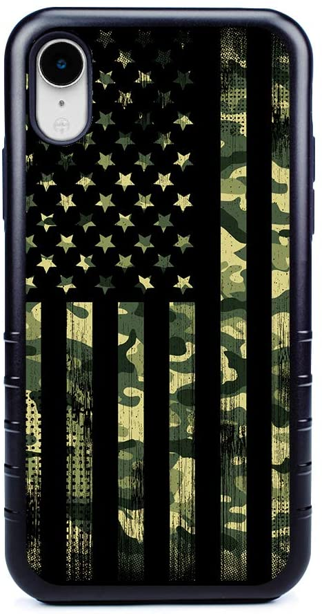 Guard Dog Patriot Military Camo Hybrid Case for iPhone XR , Black with Black Silicone