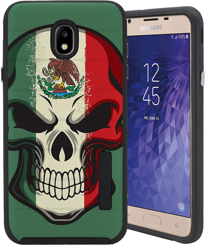 CasesOnDeck Slim Case for Samsung Galaxy J7 2018/ J7 Crown/ J7 Refine/ J7 Top/ J7 Star/ J7 Aero - Dual Layer Embossed Texture Sure Grip Bumper Case (Mexican Skull)