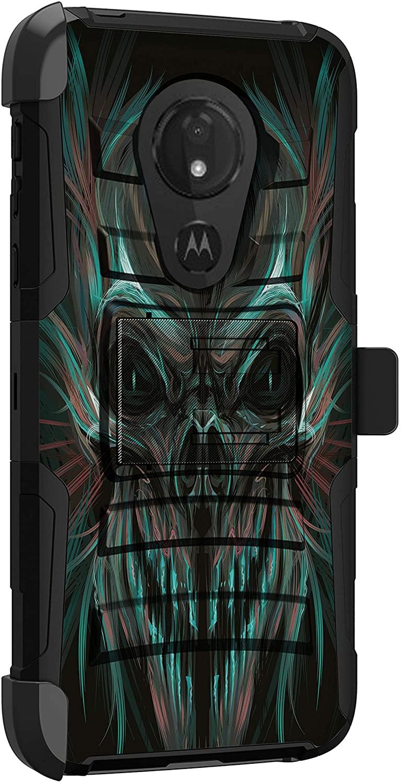 MINITURTLE Compatible with Motorola Moto G7 Power, Moto G7 Supra, Moto G7 Optimo Maxx Protective Rugged Heavy Duty Holster Belt Clip Kickstand Combo Case Cover [Clip Armor] - Demon Skull