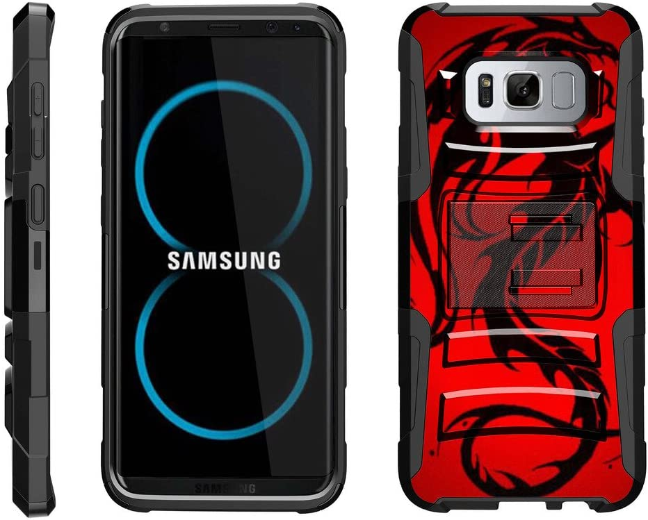 TurtleArmor | Compatible with Samsung Galaxy S8 Case | G950 [Hyper Shock] Hybrid Dual Layer Armor Holster Belt Clip Case Kickstand - Red Dragon