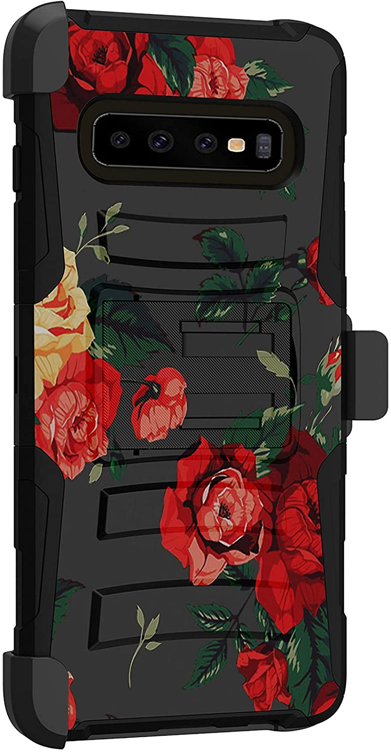 MINITURTLE Compatible with Samsung Galaxy S10 Rugged Dual Layer Swivel Holster Belt Clip Case Cover [Clip Armor] - Vibrant Roses