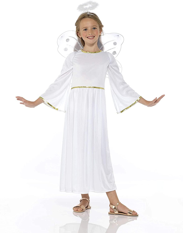 Angel Costume - Halloween Girls Angelic Dress, Halo, Wings, White