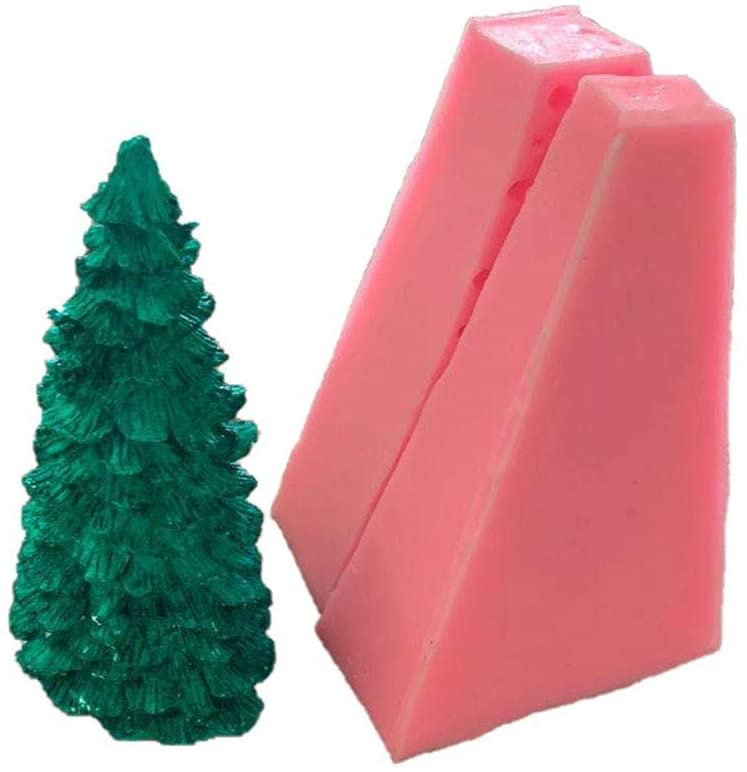 3D Christmas Tree Silicone Candle Mold for Candle Making, Silicone Mold DIY Christmas Tree Candle Mold Crafts for Aromatherapy Soap