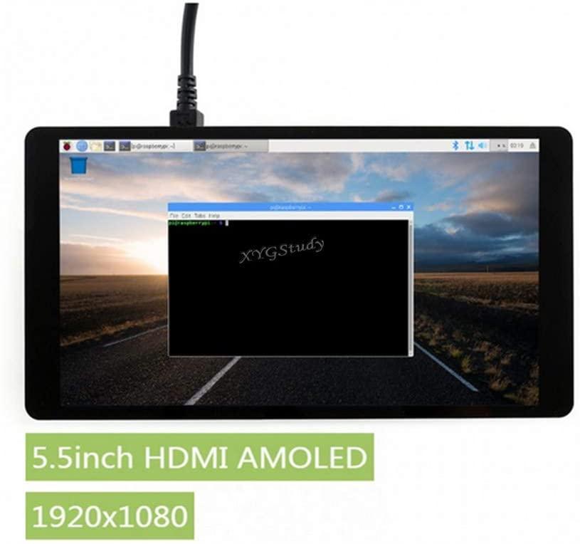 XYGStudy 5.5 inch Raspberry Pi AMOLED Display Monitor HDMI Interface Capacitive 1920x1080 with Toughened Glass Cover for Computer Monitor Jetson Nano Pi 4B/3B+/3A+/3B/2B/B+/A+ Windows 10/8.1/8/7
