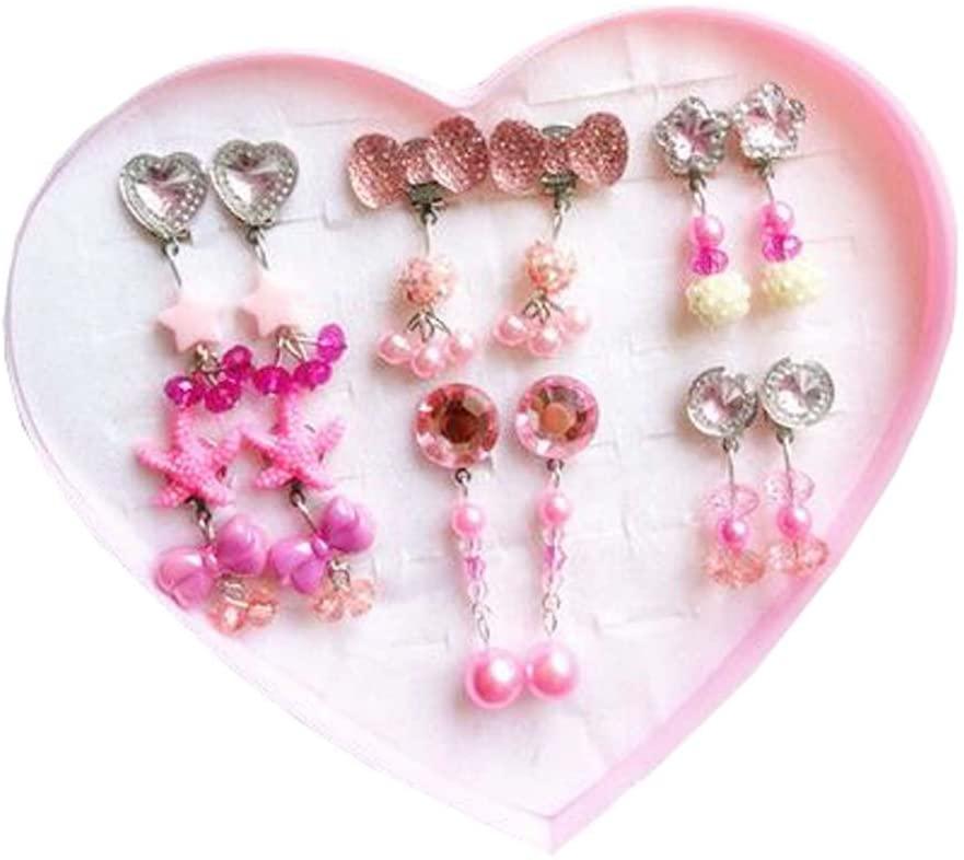 Dragon Troops Clip-on Earrings for Kids,6pcs Girl Clip-on Earrings for Pretend Play Princess,A