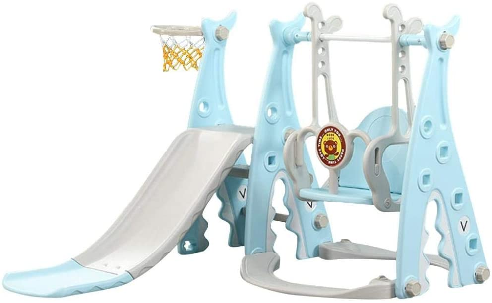 Hedgx Slide and Swing Set for Toddlers - Kids Slide Sturdy Toddler Playground Indoor Outdoor Slide Climber Toy Playset Basketball Hoop Long Slide Easy Setup Backyard Kids Activity (3 in 1 w/Ball)