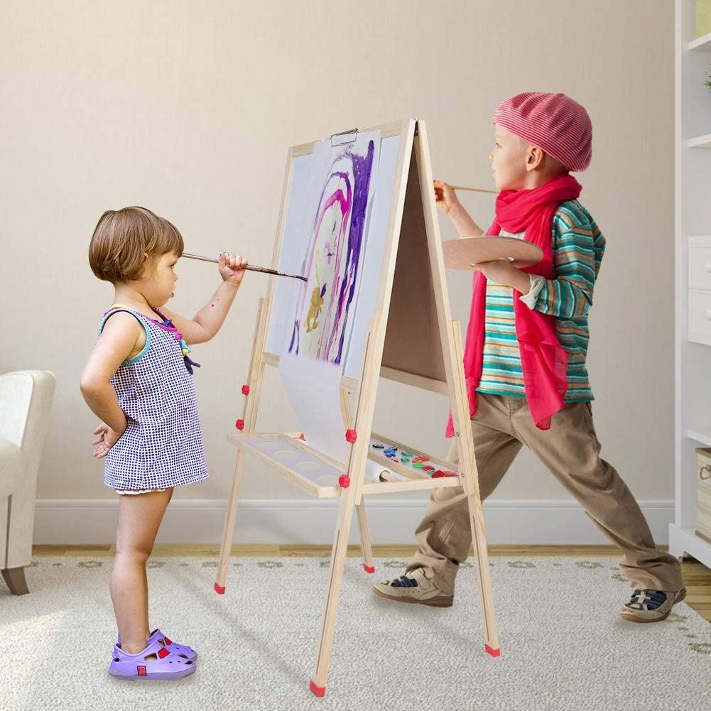 GOTOTOP Adjustable Kids Easel 3 in 1 Wooden Standing Art Easel with Paper Roll and Accessories for 2 to 16 Years Kids Painting and Drawing