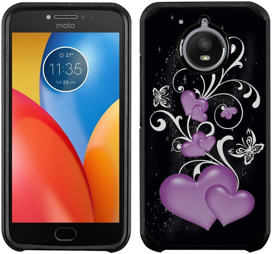 FINCIBO Case Compatible with Motorola Moto E4 Plus XT1773 2017 (International), Dual Layer Hard Back Hybrid Protector Case Cover TPU for Moto E4 Plus XT1773 (NOT FIT Moto E4) - Purple Hearts Vines