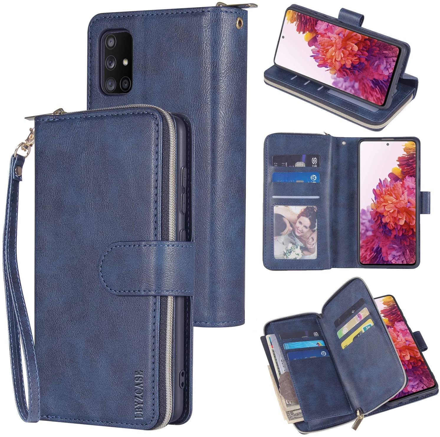 LBYZCASE Wallet Case for Galaxy S20 FE 5G(2020),Samsung S20 FE Phone Case,Folio Flip Leather Cover[Zipper Pocket][9 Card Slots][Kickstand] for Samsung Galaxy S20 FE 5G(Fan Edition) (Blue)