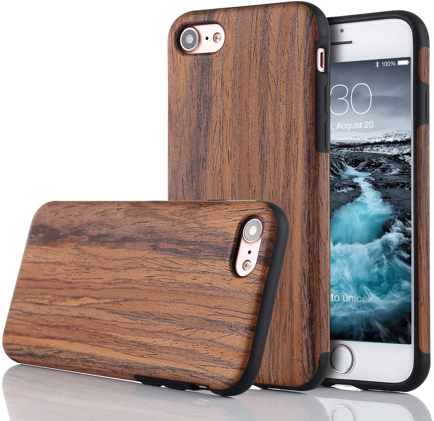 LCHULLE for iPhone SE 2020 iPhone 7 iPhone 8 Wood Case Premium Handmade Wooden Hybrid Case Wood Grain Soft TPU Silicone Slim Case Shock Absorbing Protective Cover for iPhone 7/8/SE2020-Red Sandalwood