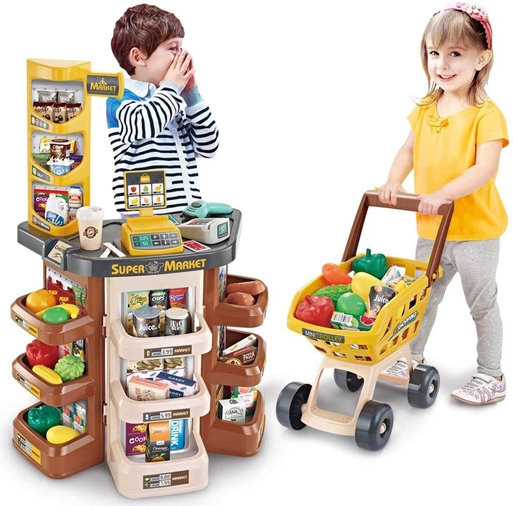 Kids Play Grocery Store Mart Cashier Play Set, Supermarket Play Pretend Grocery, Grocery Store Playset with Shopping Cart, Scanner & Credit Card Machine for Toddlers [USA Shipping Directly]