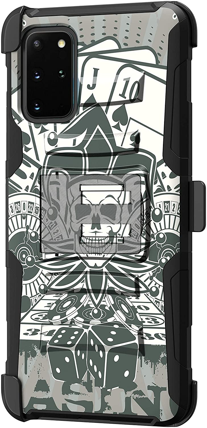 TurtleArmor | Compatible with Samsung Galaxy S20+ Plus Case 6.7 | Samsung Galaxy S11 Case [Hyper Shock] Armor Solid Hybrid Kickstand Impact Silicone Holster Belt Clip Cool - Joker Skull