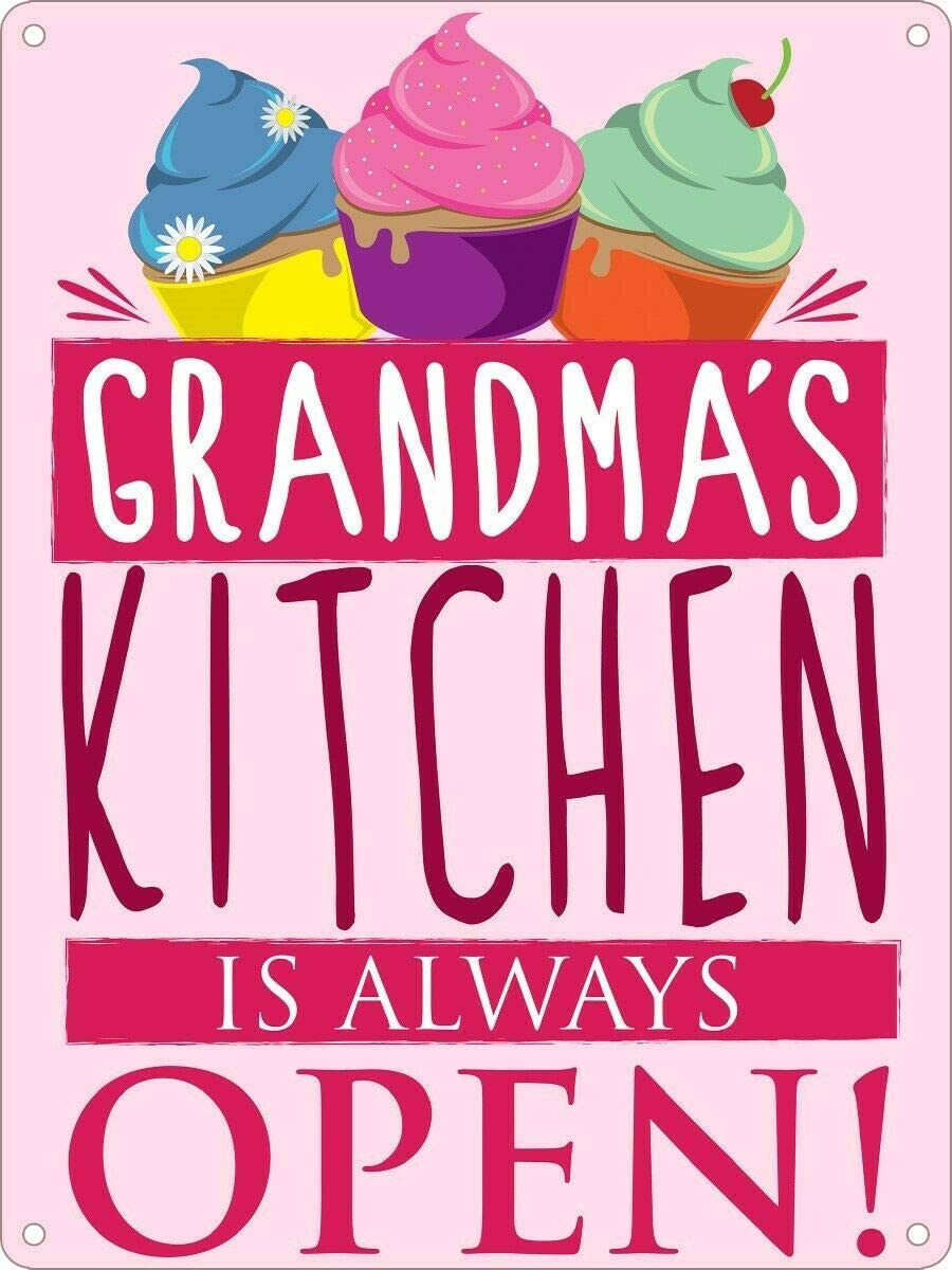 Mini Tin Sign Grandma's Kitchen is Always Open 8x12 Inches