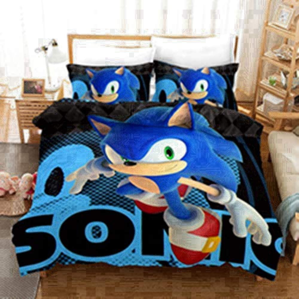 Sonic The Hedgehog Bedding Set 3D Print Cartoon Duvet Cover Sets, Microfiber, with Pillowcase (E,Twin66 x90)