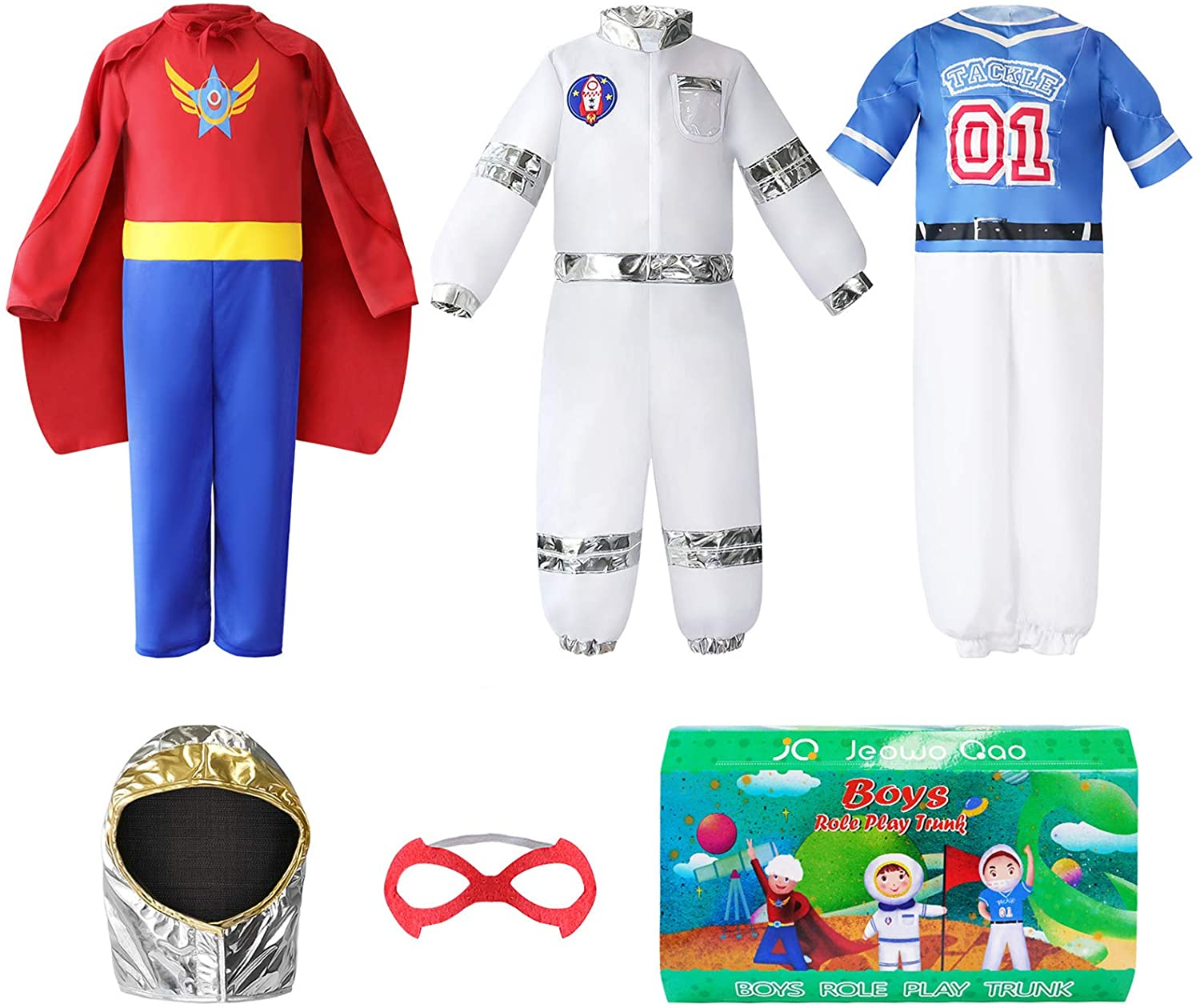 Boys Dress up Trunk Costumes Set, Jeowoqao Kids Dress up Clothes Set, Superman, Astronaut, Footballer Costume for Children ages 3-6