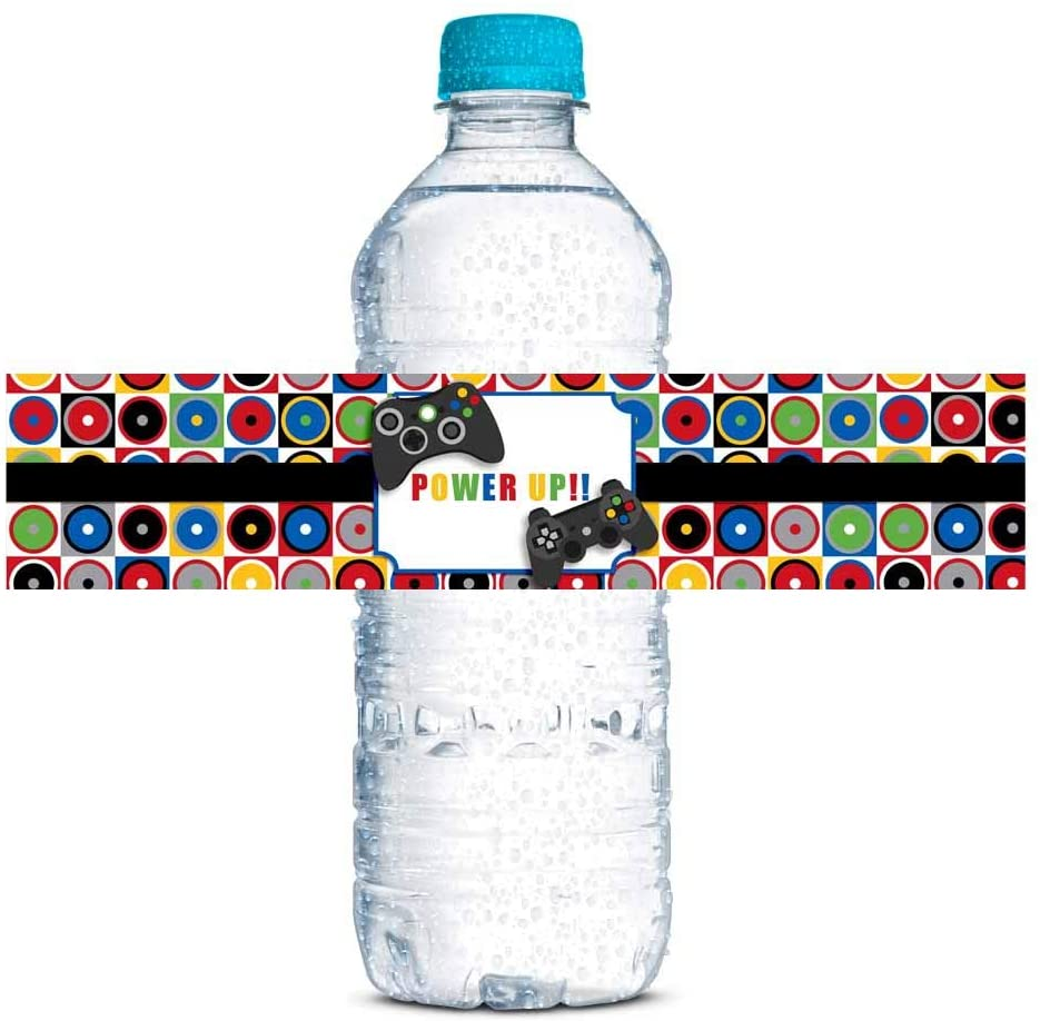 Game On Video Gamer Birthday Party Waterproof Water Bottle Sticker Wrappers, 20 1.75